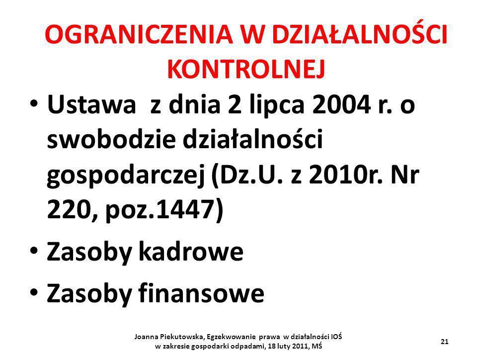 OGRANICZENIA W DZIAŁALNOŚCI KONTROLNEJ Ustawa z dnia 2 lipca 2004 r. o swobodzie działalności gospodarczej (Dz.U. z 2010r. Nr 220, poz.1447) Zasoby ka