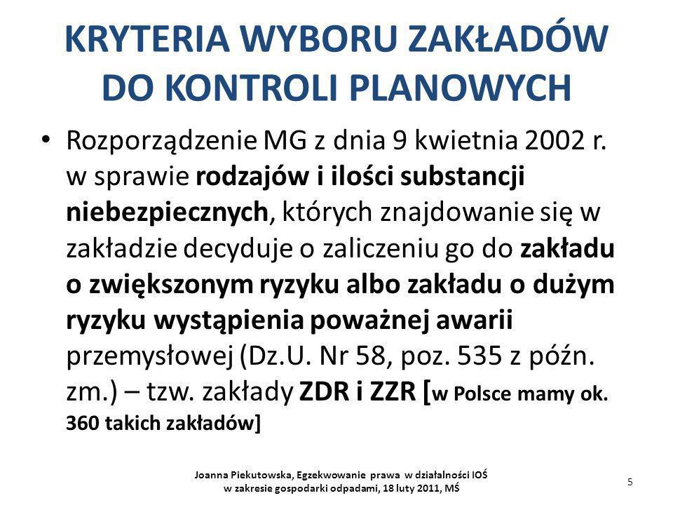 KRYTERIA WYBORU ZAKŁADÓW DO KONTROLI PLANOWYCH Rozporządzenie Rady Ministrów z dnia 9 listopada 2010 r.