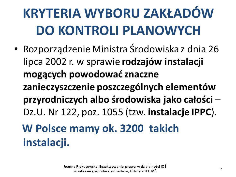 KRYTERIA WYBORU ZAKŁADÓW DO KONTROLI PLANOWYCH Joanna Piekutowska, Egzekwowanie prawa w działalności IOŚ w zakresie gospodarki odpadami, 18 luty 2011,