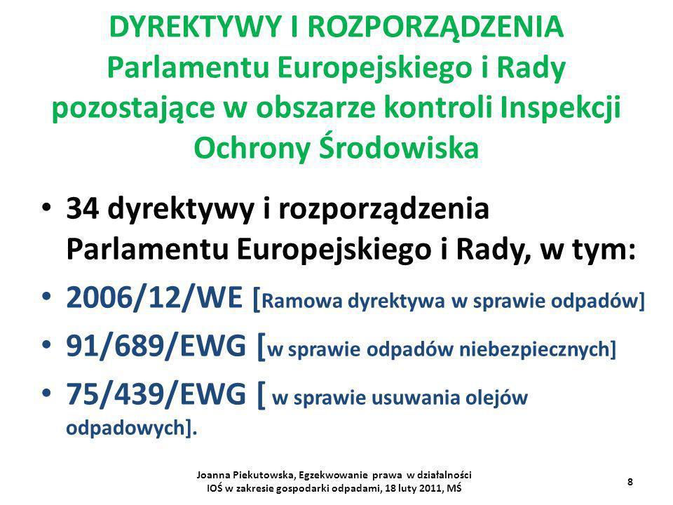Dyrektywa 2008/98/WE zastąpiła dyrektywy: 2006/12/WE, 91/689/EWG 75/439/EWG z dniem 12 grudnia 2010 roku.