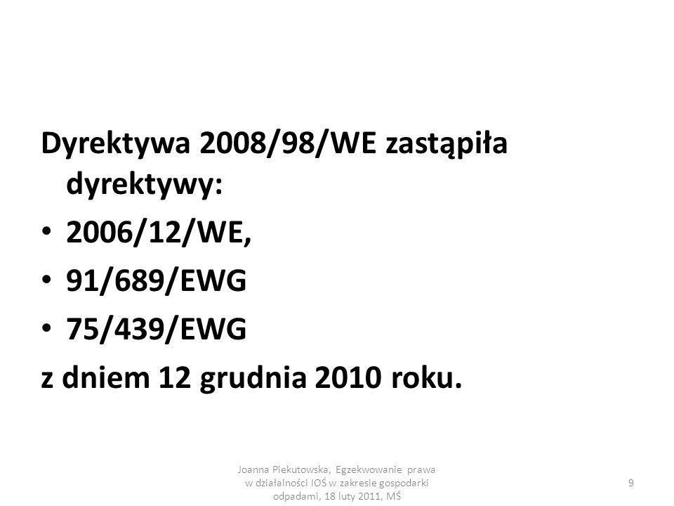 Dyrektywa 2008/98/WE zastąpiła dyrektywy: 2006/12/WE, 91/689/EWG 75/439/EWG z dniem 12 grudnia 2010 roku. Joanna Piekutowska, Egzekwowanie prawa w dzi
