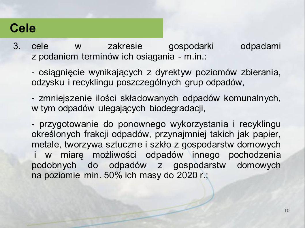 3.cele w zakresie gospodarki odpadami z podaniem terminów ich osiągania - m.in.: - osiągnięcie wynikających z dyrektyw poziomów zbierania, odzysku i r