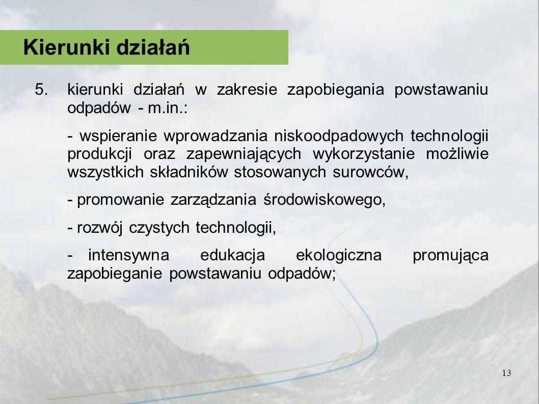 5.kierunki działań w zakresie zapobiegania powstawaniu odpadów - m.in.: - wspieranie wprowadzania niskoodpadowych technologii produkcji oraz zapewniaj