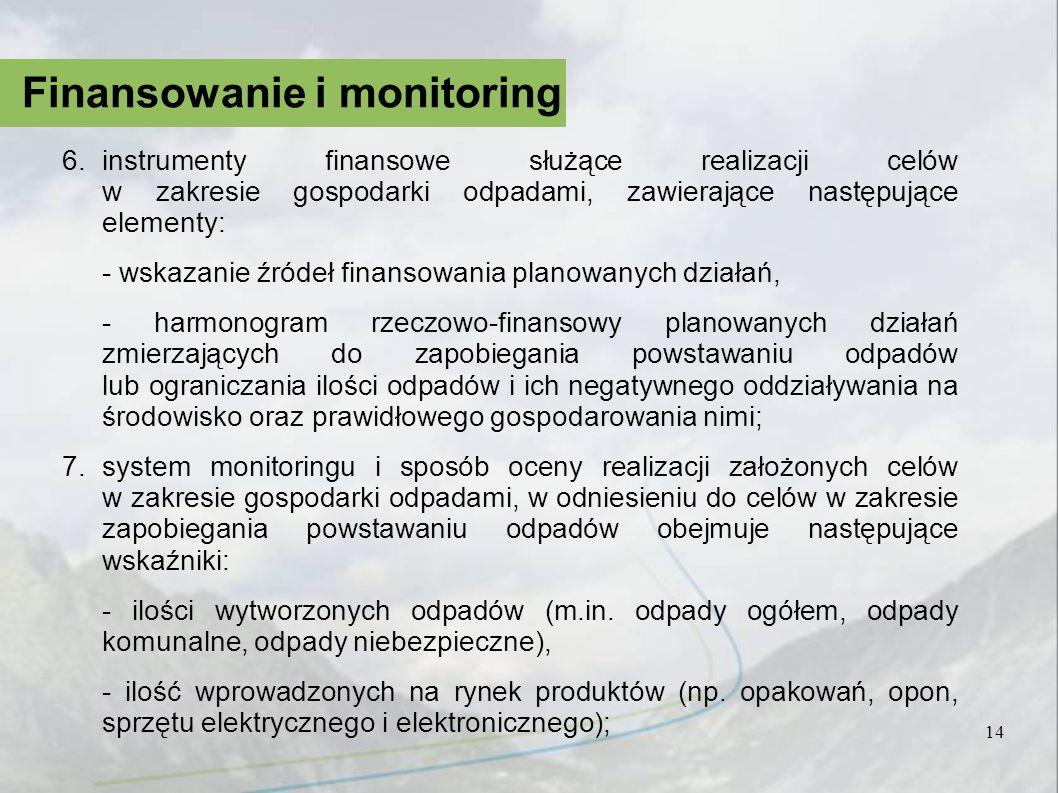 14 Finansowanie i monitoring 6.instrumenty finansowe służące realizacji celów w zakresie gospodarki odpadami, zawierające następujące elementy: - wska