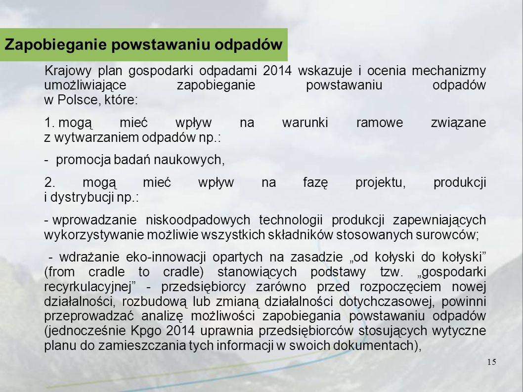 Krajowy plan gospodarki odpadami 2014 wskazuje i ocenia mechanizmy umożliwiające zapobieganie powstawaniu odpadów w Polsce, które: 1. mogą mieć wpływ