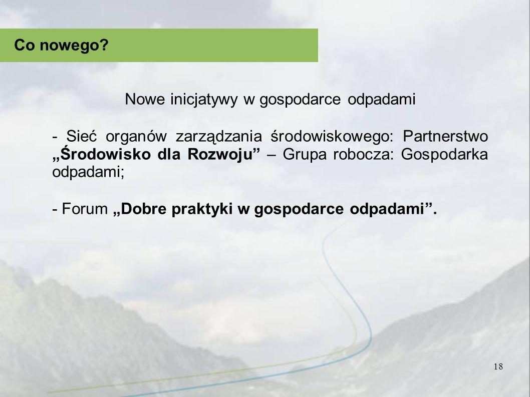 18 Co nowego? Nowe inicjatywy w gospodarce odpadami - Sieć organów zarządzania środowiskowego: Partnerstwo Środowisko dla Rozwoju – Grupa robocza: Gos