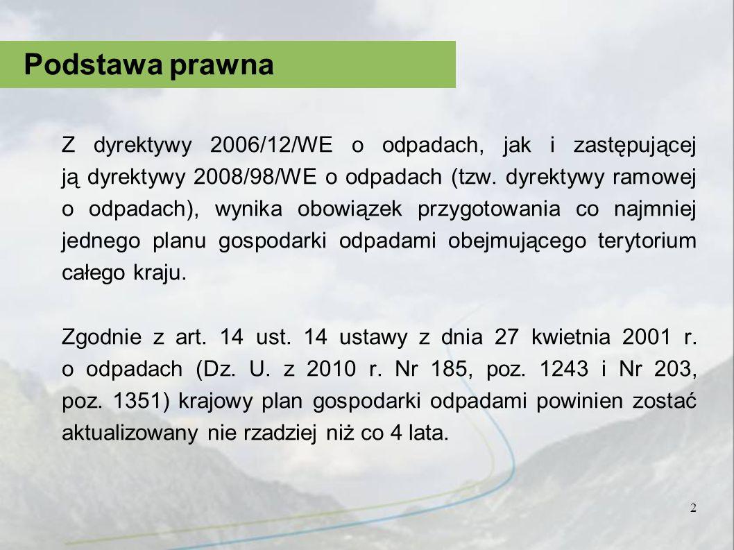 Krajowy plan gospodarki odpadami 2010 (Kpgo 2010) został uchwalony dnia 29 grudnia 2006 r., w związku z tym w 2010 r.