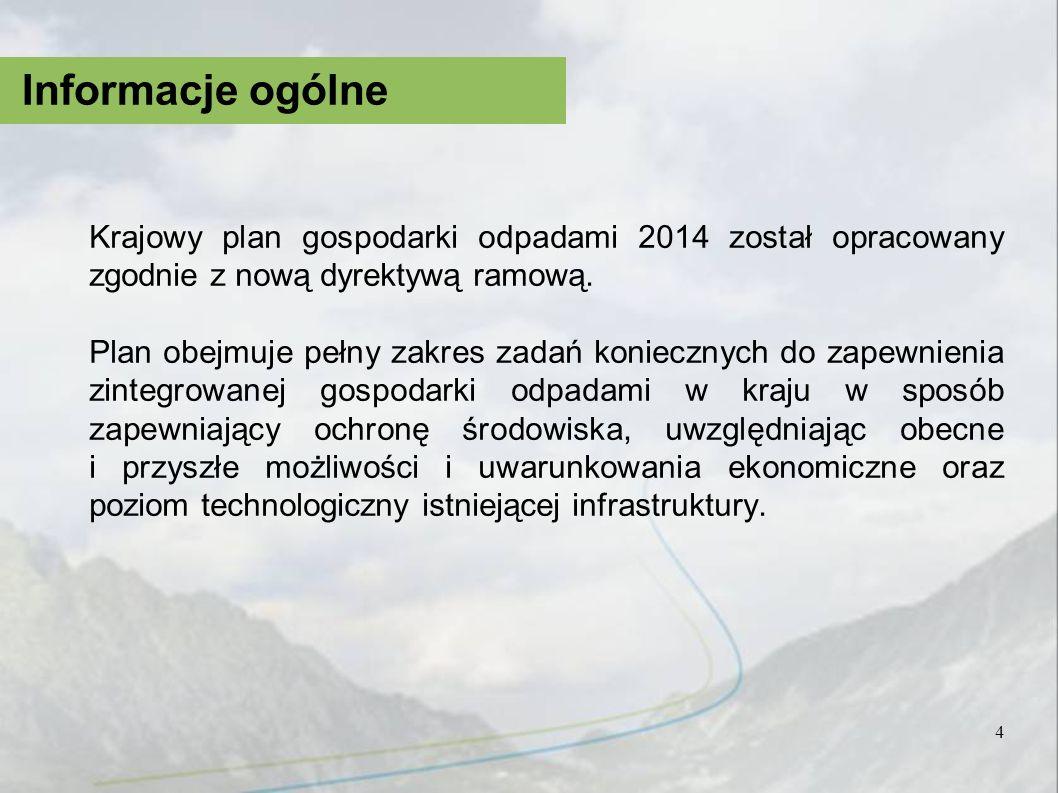 Krajowy plan gospodarki odpadami 2014 został opracowany zgodnie z nową dyrektywą ramową. Plan obejmuje pełny zakres zadań koniecznych do zapewnienia z