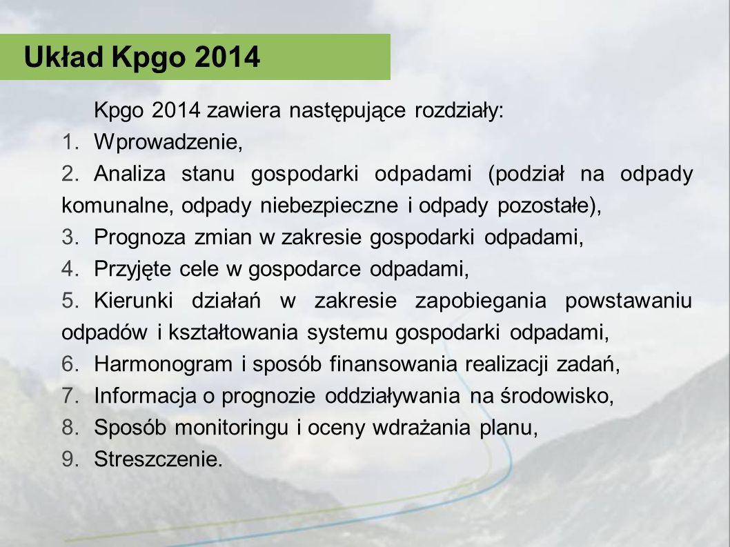 Kpgo 2014 zawiera następujące rozdziały: 1.Wprowadzenie, 2.Analiza stanu gospodarki odpadami (podział na odpady komunalne, odpady niebezpieczne i odpa
