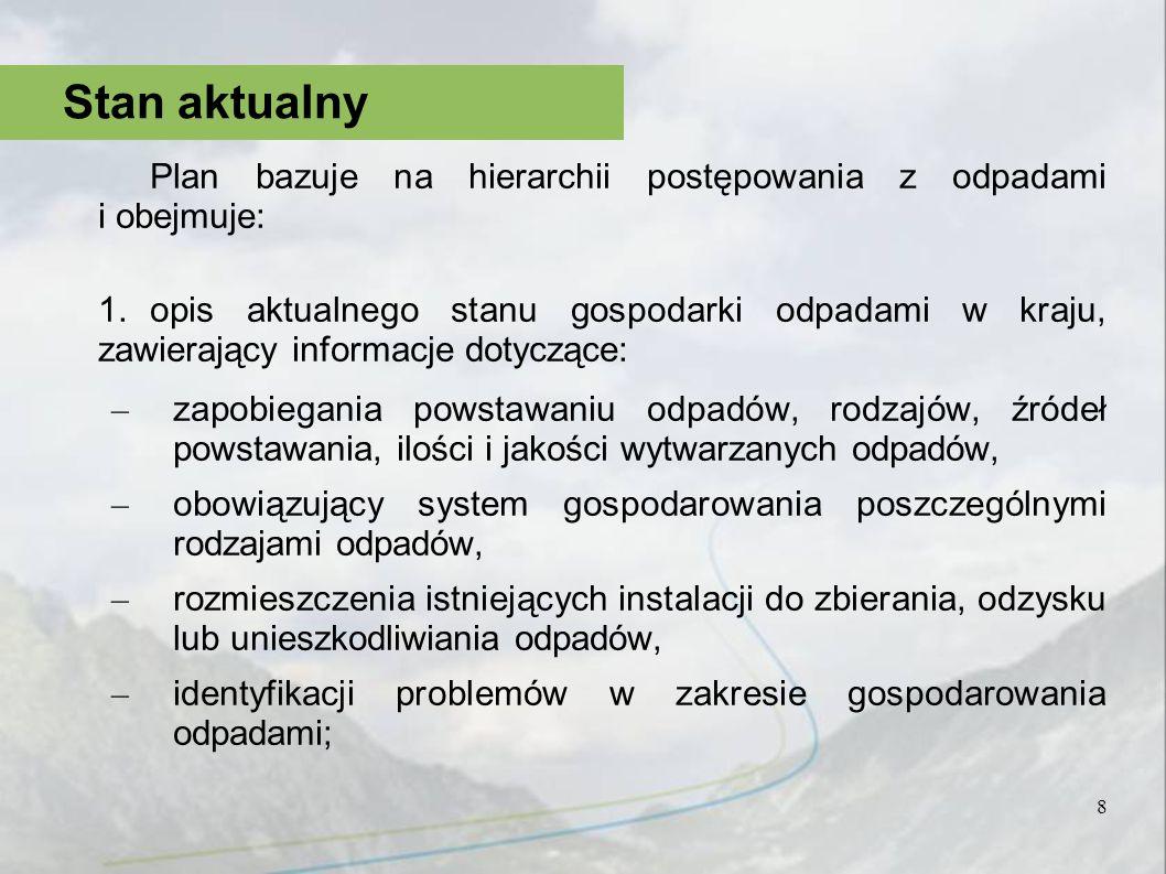 Plan bazuje na hierarchii postępowania z odpadami i obejmuje: 1.opis aktualnego stanu gospodarki odpadami w kraju, zawierający informacje dotyczące: –