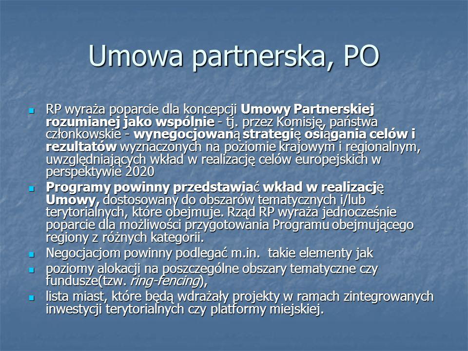 Umowa partnerska, PO RP wyraża poparcie dla koncepcji Umowy Partnerskiej rozumianej jako wspólnie - tj.