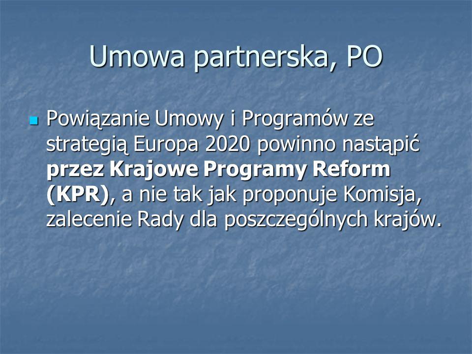 Umowa partnerska, PO Powiązanie Umowy i Programów ze strategią Europa 2020 powinno nastąpić przez Krajowe Programy Reform (KPR), a nie tak jak proponuje Komisja, zalecenie Rady dla poszczególnych krajów.