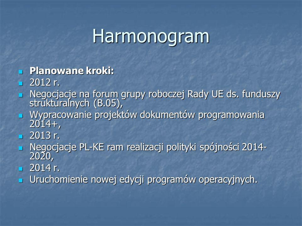 Harmonogram Planowane kroki: Planowane kroki: 2012 r.