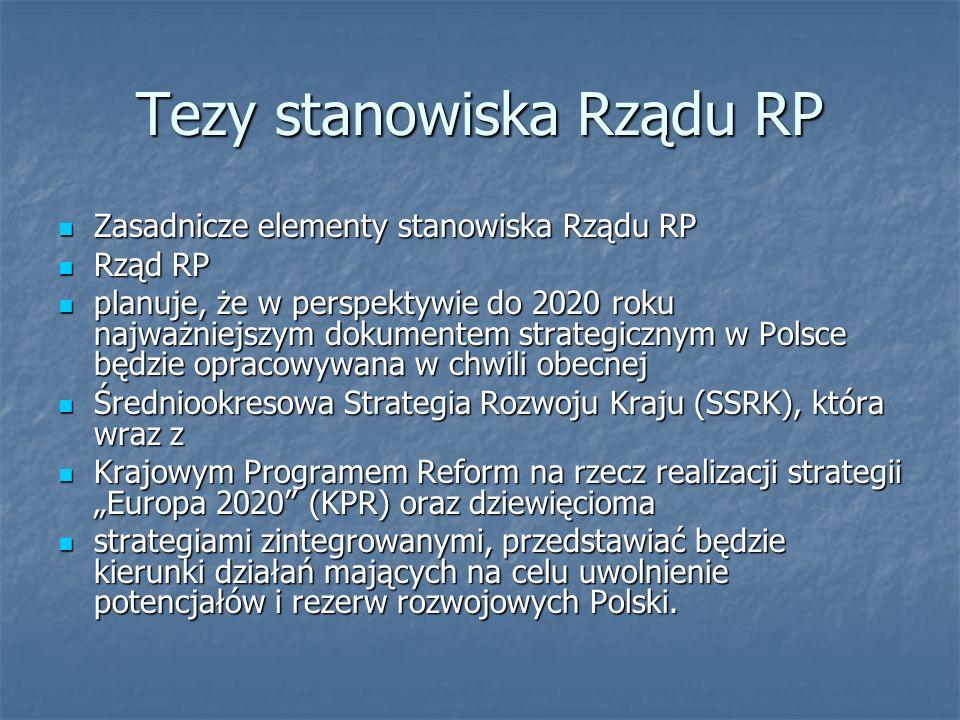 Tezy stanowiska Rządu RP Zasadnicze elementy stanowiska Rządu RP Zasadnicze elementy stanowiska Rządu RP Rząd RP Rząd RP planuje, że w perspektywie do 2020 roku najważniejszym dokumentem strategicznym w Polsce będzie opracowywana w chwili obecnej planuje, że w perspektywie do 2020 roku najważniejszym dokumentem strategicznym w Polsce będzie opracowywana w chwili obecnej Średniookresowa Strategia Rozwoju Kraju (SSRK), która wraz z Średniookresowa Strategia Rozwoju Kraju (SSRK), która wraz z Krajowym Programem Reform na rzecz realizacji strategii Europa 2020 (KPR) oraz dziewięcioma Krajowym Programem Reform na rzecz realizacji strategii Europa 2020 (KPR) oraz dziewięcioma strategiami zintegrowanymi, przedstawiać będzie kierunki działań mających na celu uwolnienie potencjałów i rezerw rozwojowych Polski.