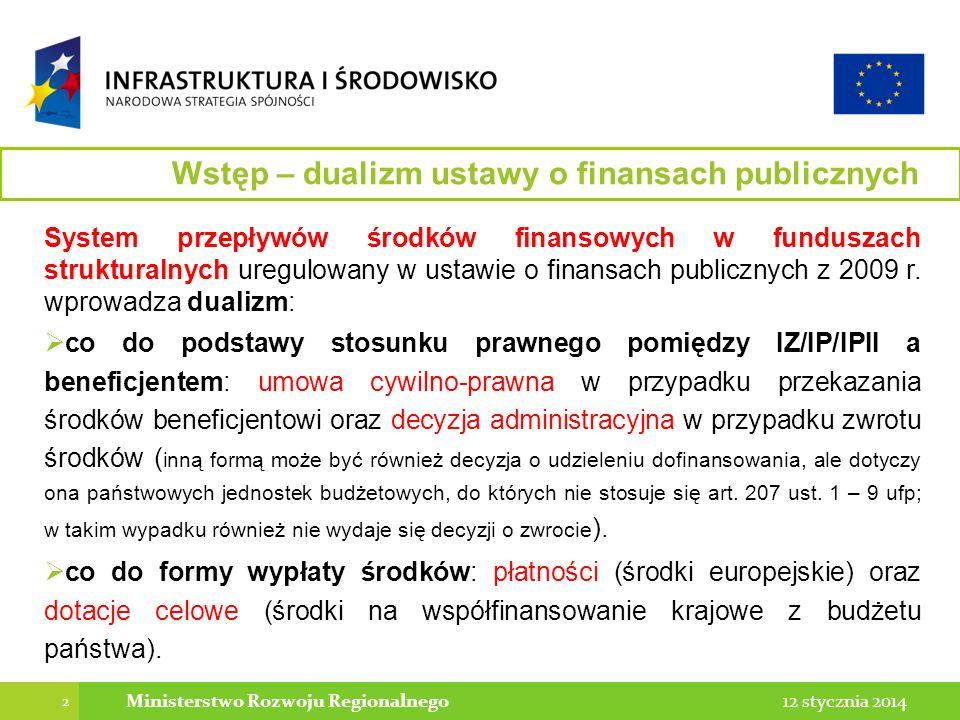 2 12 stycznia 2014Ministerstwo Rozwoju Regionalnego System przepływów środków finansowych w funduszach strukturalnych uregulowany w ustawie o finansach publicznych z 2009 r.
