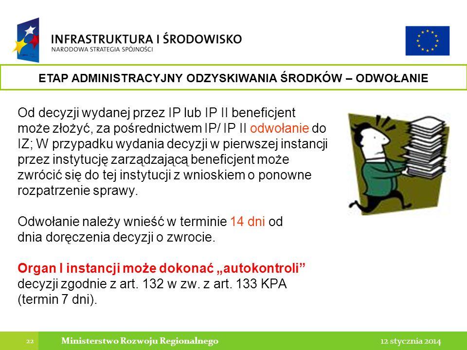 22 12 stycznia 2014Ministerstwo Rozwoju Regionalnego Od decyzji wydanej przez IP lub IP II beneficjent może złożyć, za pośrednictwem IP/ IP II odwołan