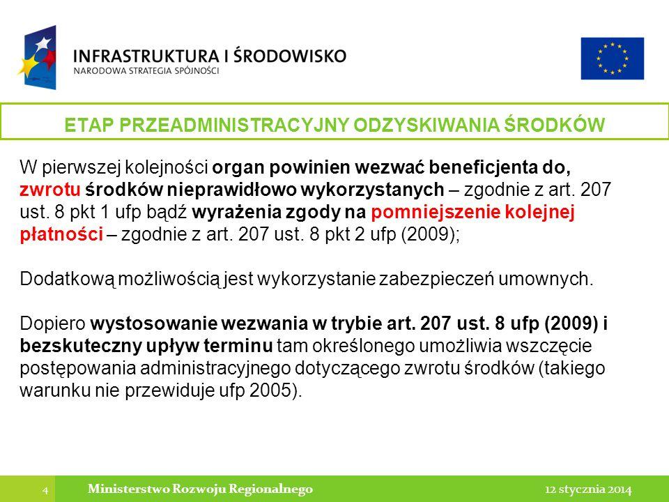 4 12 stycznia 2014Ministerstwo Rozwoju Regionalnego ETAP PRZEADMINISTRACYJNY ODZYSKIWANIA ŚRODKÓW W pierwszej kolejności organ powinien wezwać beneficjenta do, zwrotu środków nieprawidłowo wykorzystanych – zgodnie z art.
