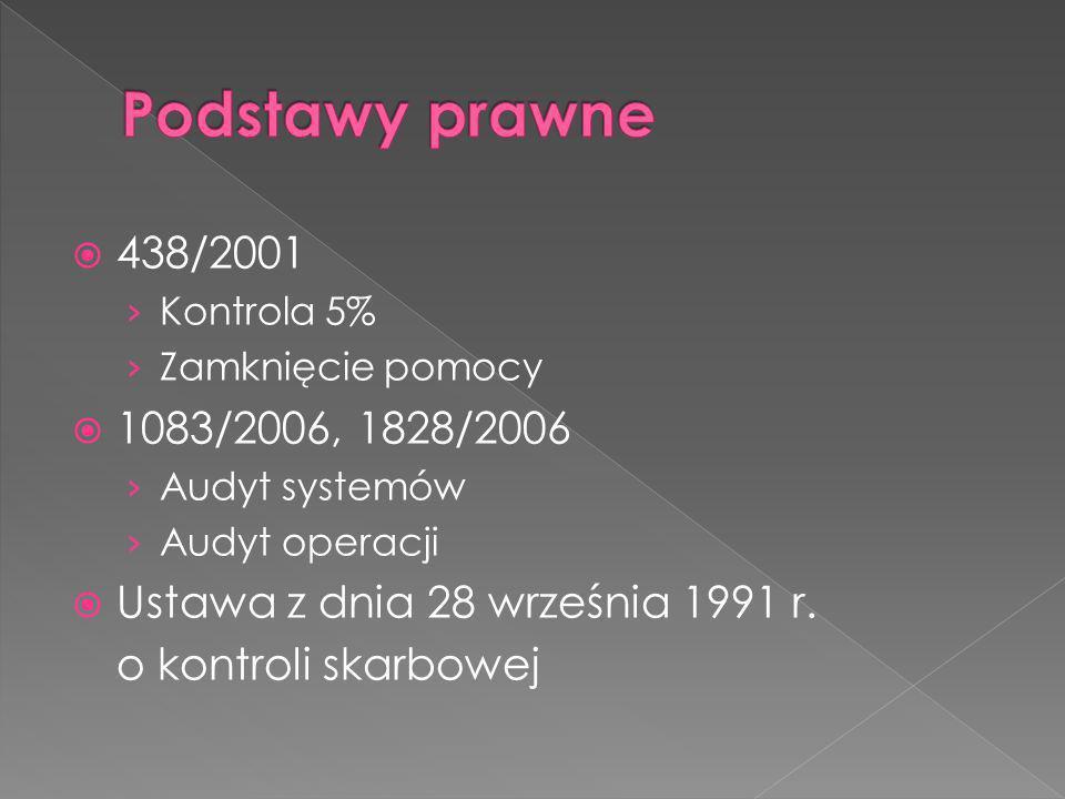 438/2001 Kontrola 5% Zamknięcie pomocy 1083/2006, 1828/2006 Audyt systemów Audyt operacji Ustawa z dnia 28 września 1991 r.