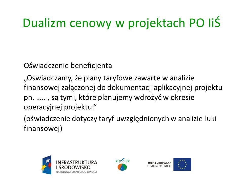 Dualizm cenowy w projektach PO IiŚ Oświadczenie beneficjenta Oświadczamy, że plany taryfowe zawarte w analizie finansowej załączonej do dokumentacji aplikacyjnej projektu pn.