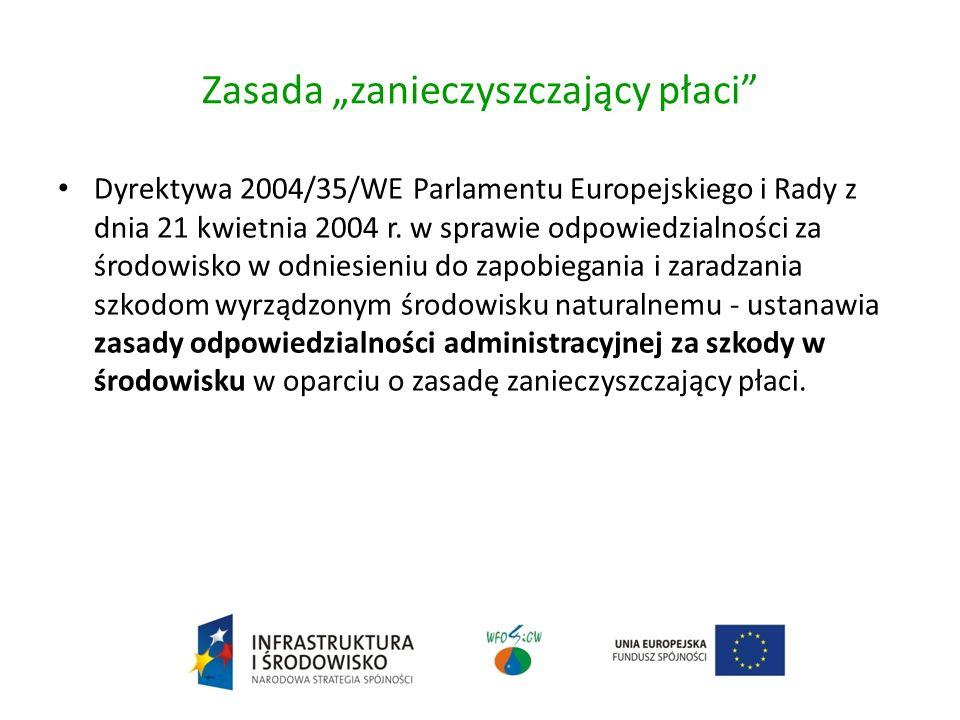 Zasada zanieczyszczający płaci Dyrektywa 2004/35/WE Parlamentu Europejskiego i Rady z dnia 21 kwietnia 2004 r.