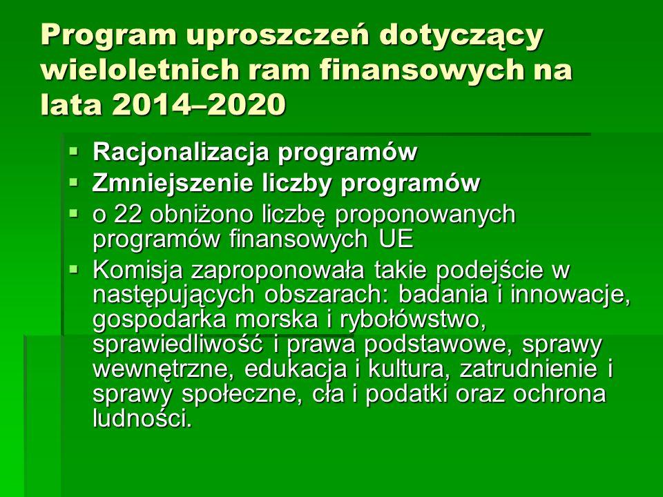 Program uproszczeń dotyczący wieloletnich ram finansowych na lata 2014–2020 Racjonalizacja programów Racjonalizacja programów Zmniejszenie liczby programów Zmniejszenie liczby programów o 22 obniżono liczbę proponowanych programów finansowych UE o 22 obniżono liczbę proponowanych programów finansowych UE Komisja zaproponowała takie podejście w następujących obszarach: badania i innowacje, gospodarka morska i rybołówstwo, sprawiedliwość i prawa podstawowe, sprawy wewnętrzne, edukacja i kultura, zatrudnienie i sprawy społeczne, cła i podatki oraz ochrona ludności.