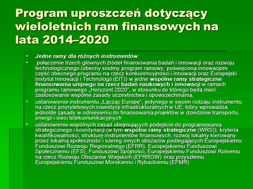 Program uproszczeń dotyczący wieloletnich ram finansowych na lata 2014–2020 Jedne ramy dla różnych instrumentów Jedne ramy dla różnych instrumentów połączenie trzech głównych źródeł finansowania badań i innowacji oraz rozwoju technologicznego (obecny siódmy program ramowy, poświęcona innowacjom część obecnego programu na rzecz konkurencyjności i innowacji oraz Europejski Instytut Innowacji i Technologii (EIT)) w jedne wspólne ramy strategiczne finansowania unijnego na rzecz badań naukowych i innowacji w ramach programu ramowego Horyzont 2020, w stosunku do którego będą mieć zastosowanie wspólne zasady uczestnictwa i upowszechniania, połączenie trzech głównych źródeł finansowania badań i innowacji oraz rozwoju technologicznego (obecny siódmy program ramowy, poświęcona innowacjom część obecnego programu na rzecz konkurencyjności i innowacji oraz Europejski Instytut Innowacji i Technologii (EIT)) w jedne wspólne ramy strategiczne finansowania unijnego na rzecz badań naukowych i innowacji w ramach programu ramowego Horyzont 2020, w stosunku do którego będą mieć zastosowanie wspólne zasady uczestnictwa i upowszechniania, ustanowienie instrumentu Łącząc Europę, jedynego w swoim rodzaju instrumentu na rzecz priorytetowych inwestycji infrastrukturalnych w UE, który wprowadza jednolite zasady w odniesieniu do finansowania projektów w dziedzinie transportu, energii i sieci telekomunikacyjnych ustanowienie instrumentu Łącząc Europę, jedynego w swoim rodzaju instrumentu na rzecz priorytetowych inwestycji infrastrukturalnych w UE, który wprowadza jednolite zasady w odniesieniu do finansowania projektów w dziedzinie transportu, energii i sieci telekomunikacyjnych ustanowienie wspólnych zasad obejmujących podejście do programowania strategicznego i koordynacji (w tym wspólne ramy strategiczne (WRS)), kryteria kwalifikowalności, strukturę instrumentów finansowych, rozwój lokalny kierowany przez lokalną społeczność i szereg innych obszarów podlegających Europejskiemu Funduszowi Rozw