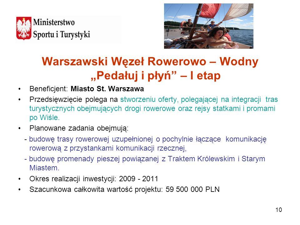 10 Warszawski Węzeł Rowerowo – Wodny Pedałuj i płyń – I etap Beneficjent: Miasto St. Warszawa Przedsięwzięcie polega na stworzeniu oferty, polegającej