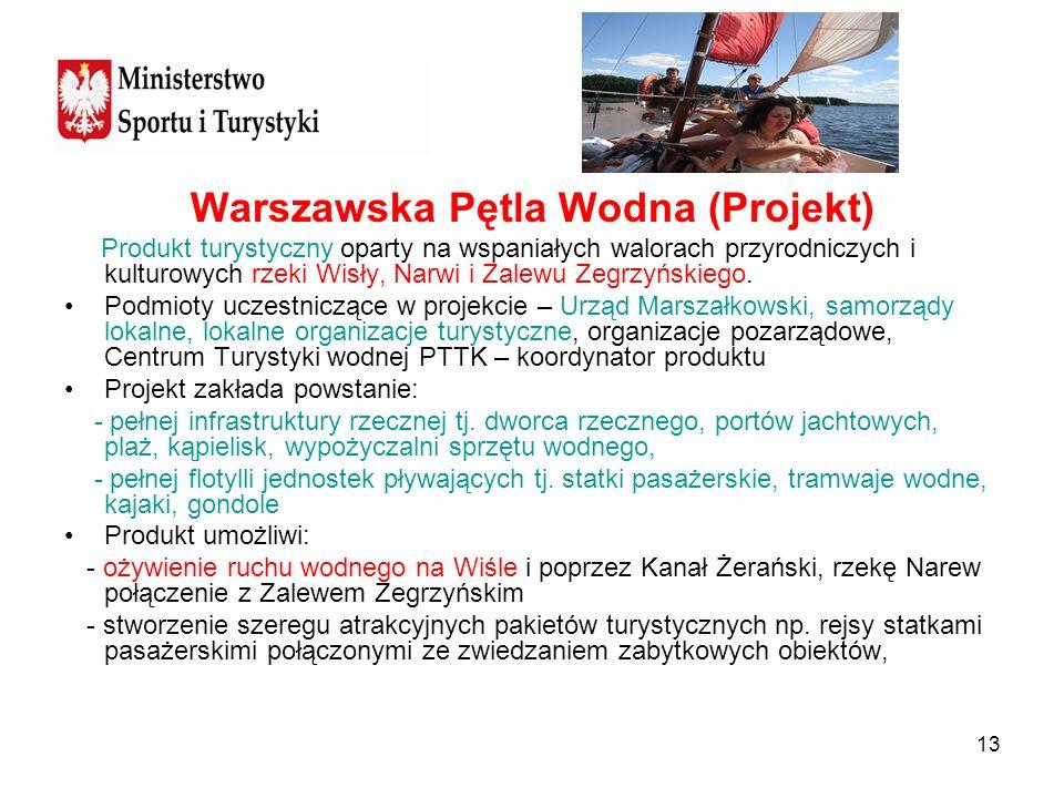 13 Warszawska Pętla Wodna (Projekt) Produkt turystyczny oparty na wspaniałych walorach przyrodniczych i kulturowych rzeki Wisły, Narwi i Zalewu Zegrzy