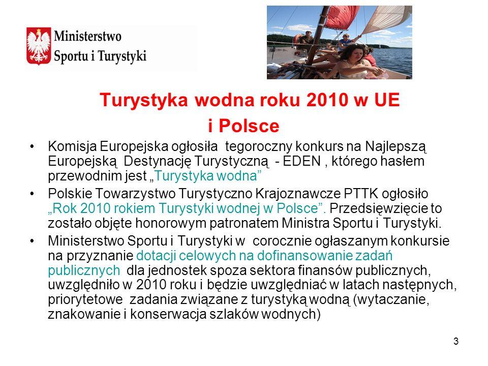 3 Turystyka wodna roku 2010 w UE i Polsce Komisja Europejska ogłosiła tegoroczny konkurs na Najlepszą Europejską Destynację Turystyczną - EDEN, któreg