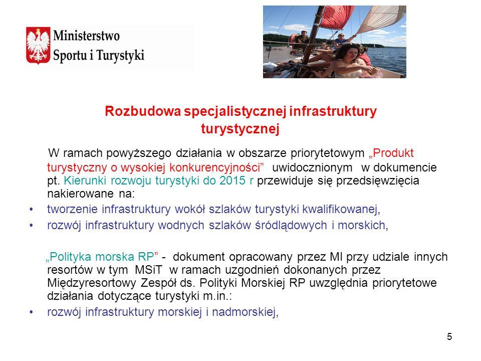 5 Rozbudowa specjalistycznej infrastruktury turystycznej W ramach powyższego działania w obszarze priorytetowym Produkt turystyczny o wysokiej konkure