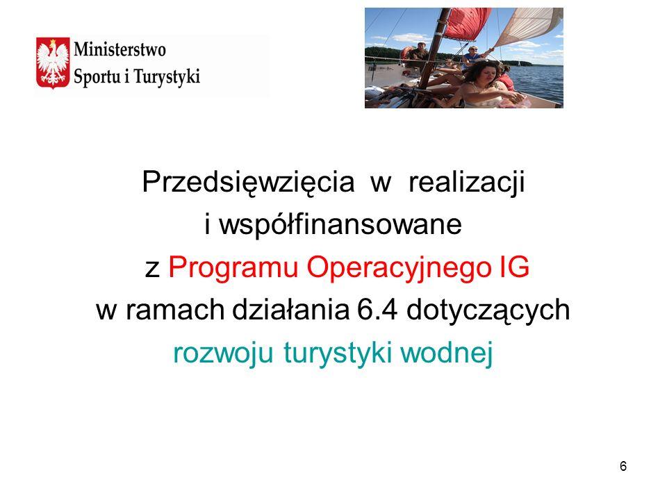 6 Przedsięwzięcia w realizacji i współfinansowane z Programu Operacyjnego IG w ramach działania 6.4 dotyczących rozwoju turystyki wodnej