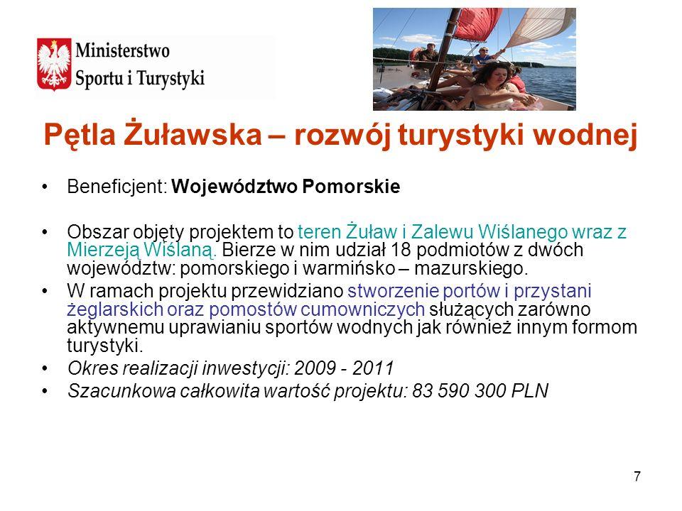 7 Pętla Żuławska – rozwój turystyki wodnej Beneficjent: Województwo Pomorskie Obszar objęty projektem to teren Żuław i Zalewu Wiślanego wraz z Mierzej