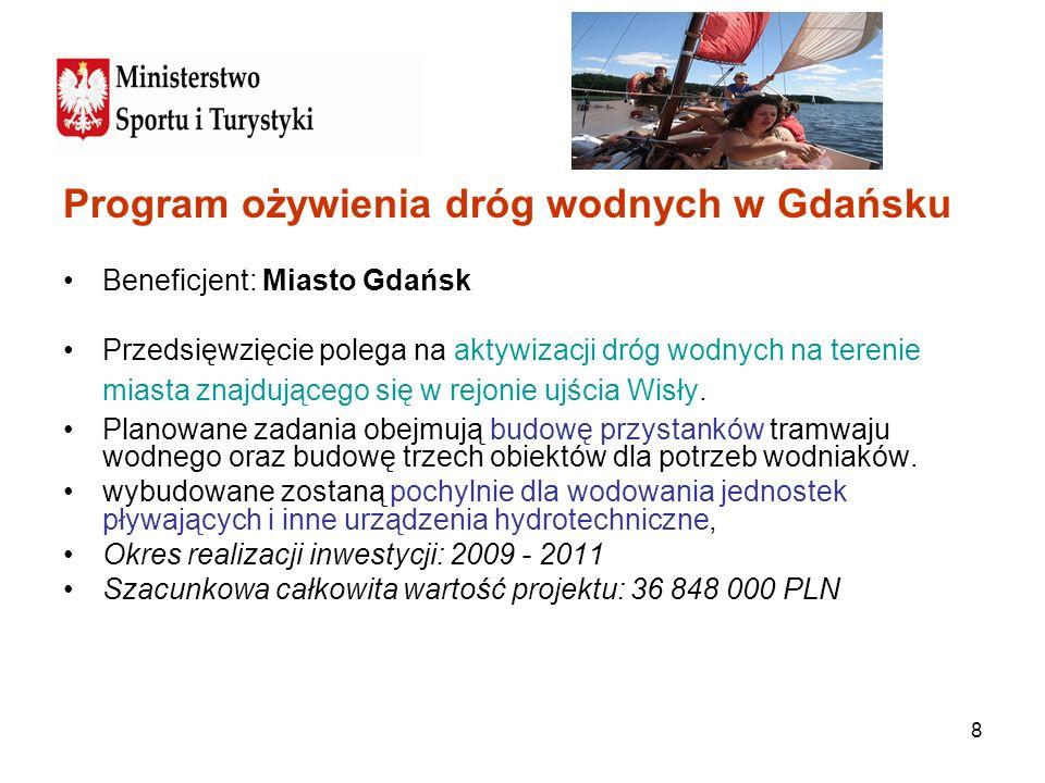 8 Program ożywienia dróg wodnych w Gdańsku Beneficjent: Miasto Gdańsk Przedsięwzięcie polega na aktywizacji dróg wodnych na terenie miasta znajdująceg