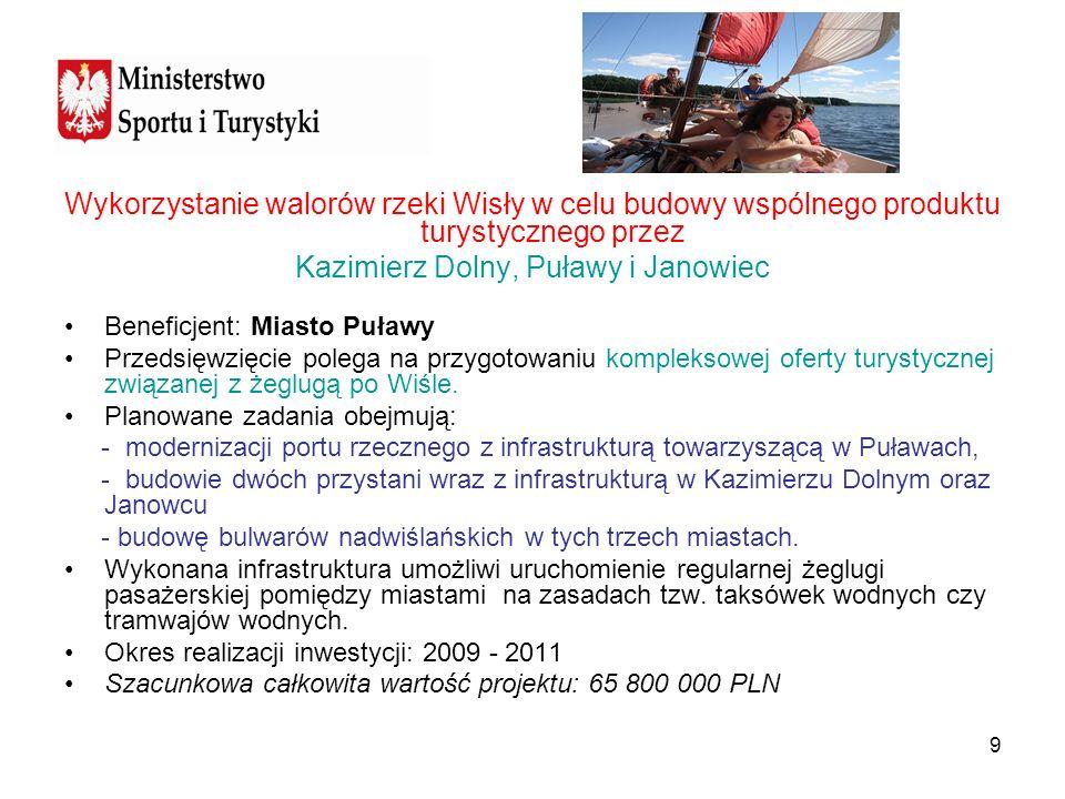 9 Wykorzystanie walorów rzeki Wisły w celu budowy wspólnego produktu turystycznego przez Kazimierz Dolny, Puławy i Janowiec Beneficjent: Miasto Puławy