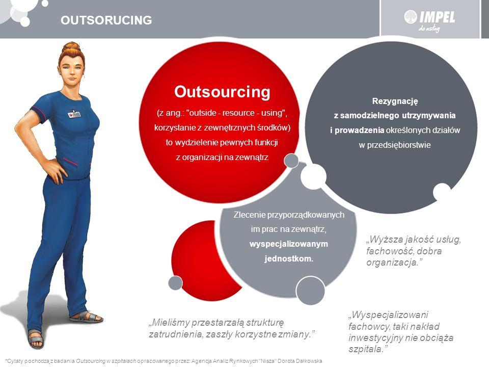 OUTSORUCING – EWOLUCJA Outsourcing pierwszej generacji głównym celem jest obniżenie kosztów własnej działalności dostawcy usług outsourcingowych korzystają z efektu skali Outsourcing drugiej generacji (strategiczny / transformacyjny) większość firm jest na etapie outsourcingu drugiej generacji outsoucring to już pewien model biznesowy: firma definiuje swoje kluczowe kompetencje skupia własne zasoby na doskonaleniu ich procesy niekluczowe zostają przekazane na zewnątrz Outsourcing trzeciej generacji wydzielenie ma zapewnić firmie rozwój i innowacyjność dostawca usług staje się motorem zmian – dostarcza nowe pomysły, koncepcje i innowacje, jest inicjatorem wejścia na nowy rynek czy nawet zmiany definicji biznesu poza usługami związanymi z outsourcingiem procesów biznesowych (BPO - Business Process Outsourcing) realizowane są usługi wynikające z procesów wiedzy (KPO - Knowlegde Process Outsourcing)