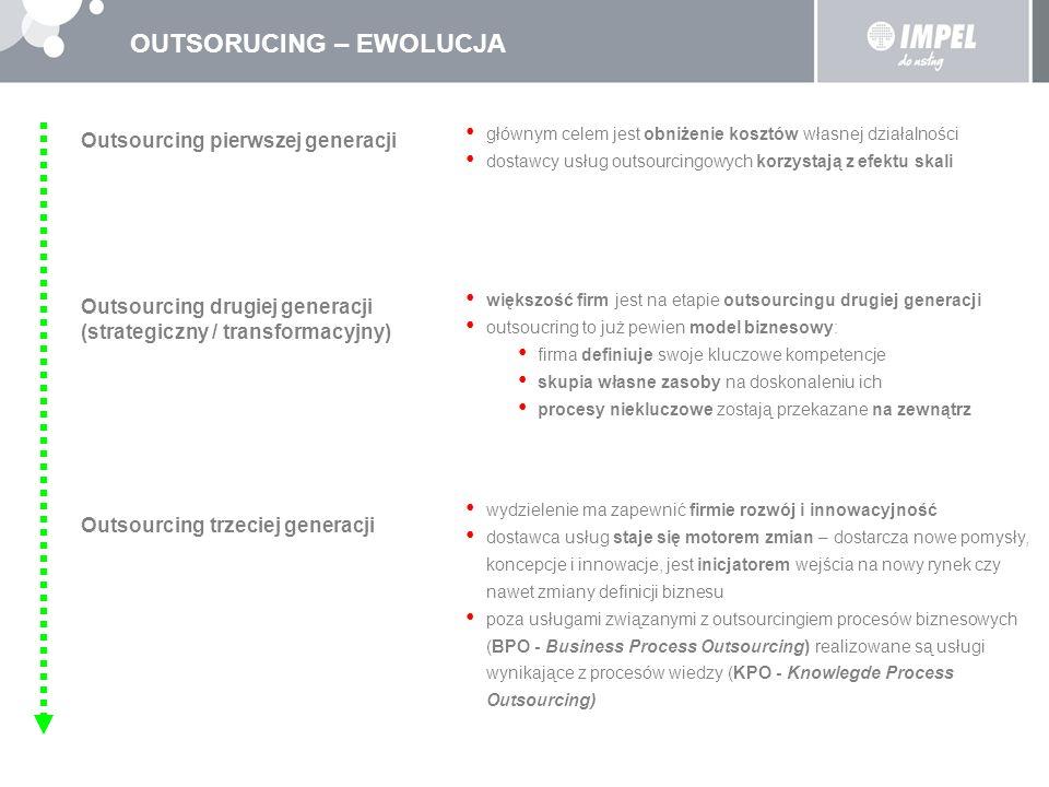 OUTSORUCING – EWOLUCJA Outsourcing pierwszej generacji głównym celem jest obniżenie kosztów własnej działalności dostawcy usług outsourcingowych korzy