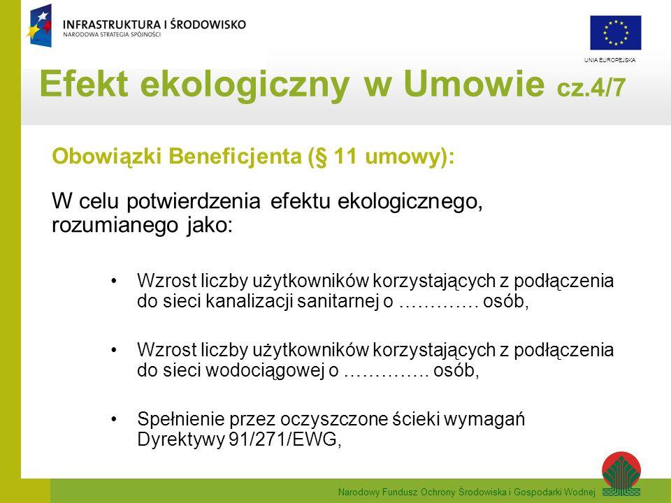 Narodowy Fundusz Ochrony Środowiska i Gospodarki Wodnej UNIA EUROPEJSKA Obowiązki Beneficjenta (§ 11 umowy): W celu potwierdzenia efektu ekologicznego