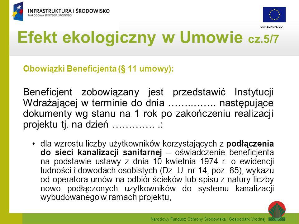 Narodowy Fundusz Ochrony Środowiska i Gospodarki Wodnej UNIA EUROPEJSKA Obowiązki Beneficjenta (§ 11 umowy): Beneficjent zobowiązany jest przedstawić