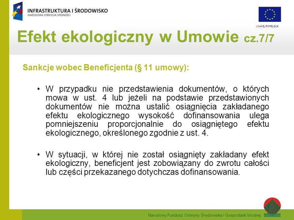 Narodowy Fundusz Ochrony Środowiska i Gospodarki Wodnej UNIA EUROPEJSKA Sankcje wobec Beneficjenta (§ 11 umowy): W przypadku nie przedstawienia dokume