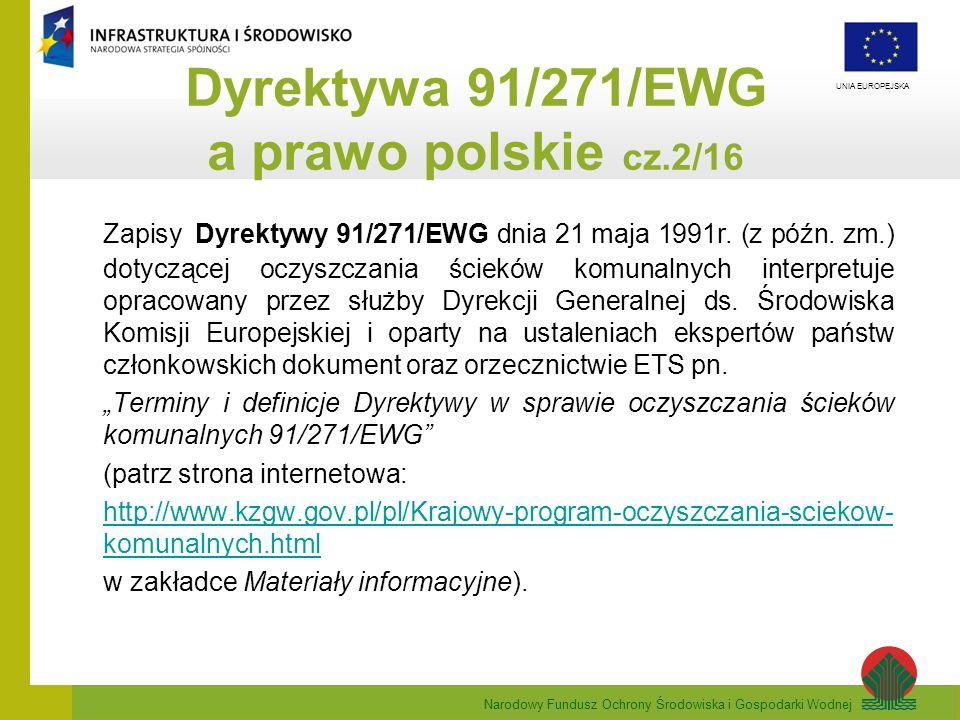 Narodowy Fundusz Ochrony Środowiska i Gospodarki Wodnej UNIA EUROPEJSKA Zapisy Dyrektywy 91/271/EWG dnia 21 maja 1991r. (z późn. zm.) dotyczącej oczys