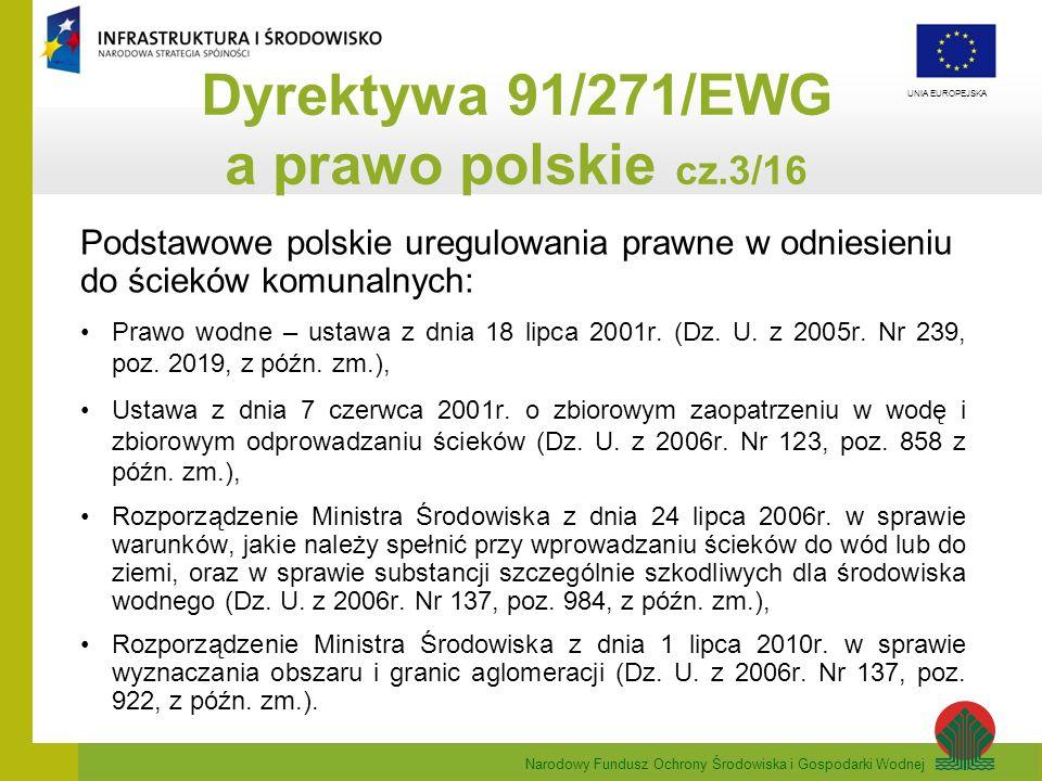 Narodowy Fundusz Ochrony Środowiska i Gospodarki Wodnej UNIA EUROPEJSKA Podstawowe polskie uregulowania prawne w odniesieniu do ścieków komunalnych: P