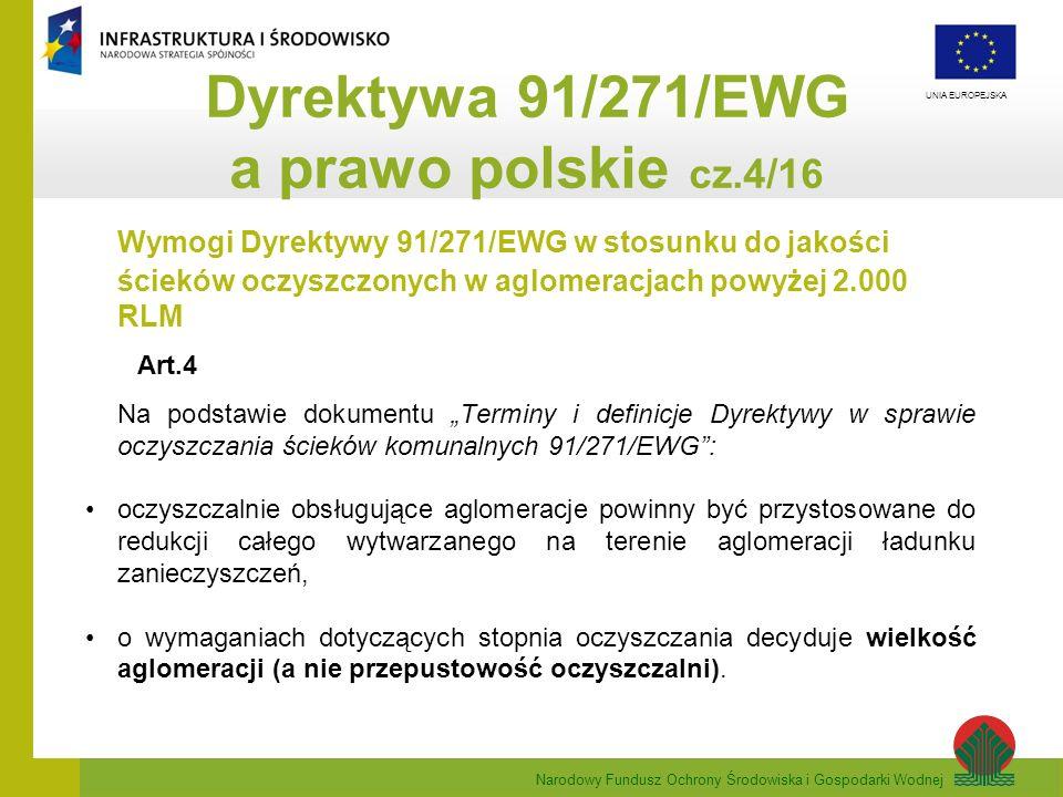 Narodowy Fundusz Ochrony Środowiska i Gospodarki Wodnej UNIA EUROPEJSKA Wymogi Dyrektywy 91/271/EWG w stosunku do jakości ścieków oczyszczonych w aglo