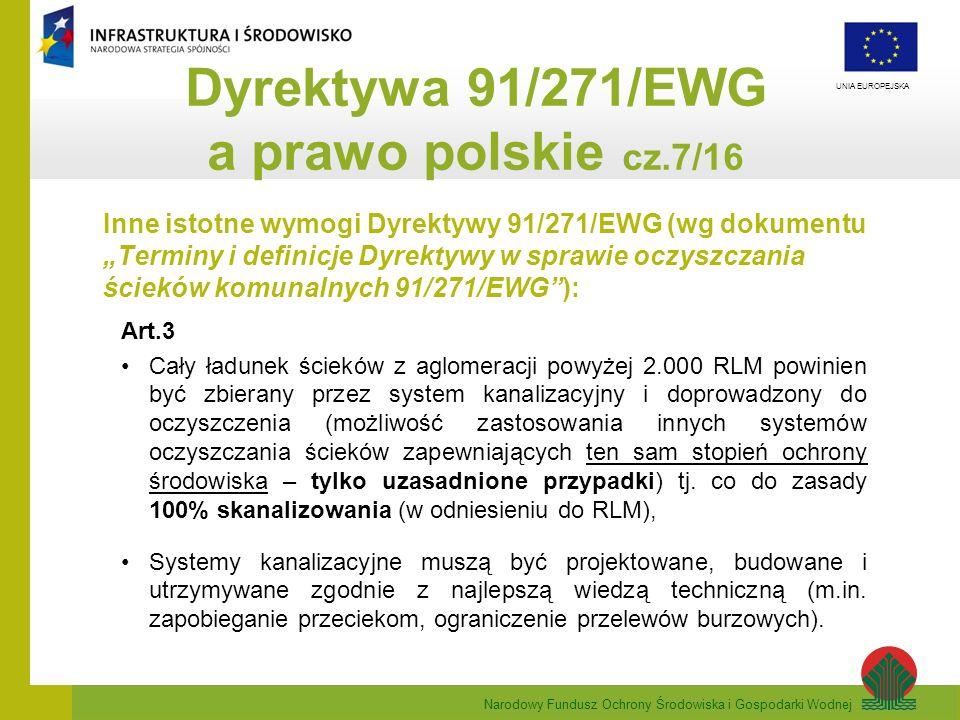 Narodowy Fundusz Ochrony Środowiska i Gospodarki Wodnej UNIA EUROPEJSKA Inne istotne wymogi Dyrektywy 91/271/EWG (wg dokumentu Terminy i definicje Dyr