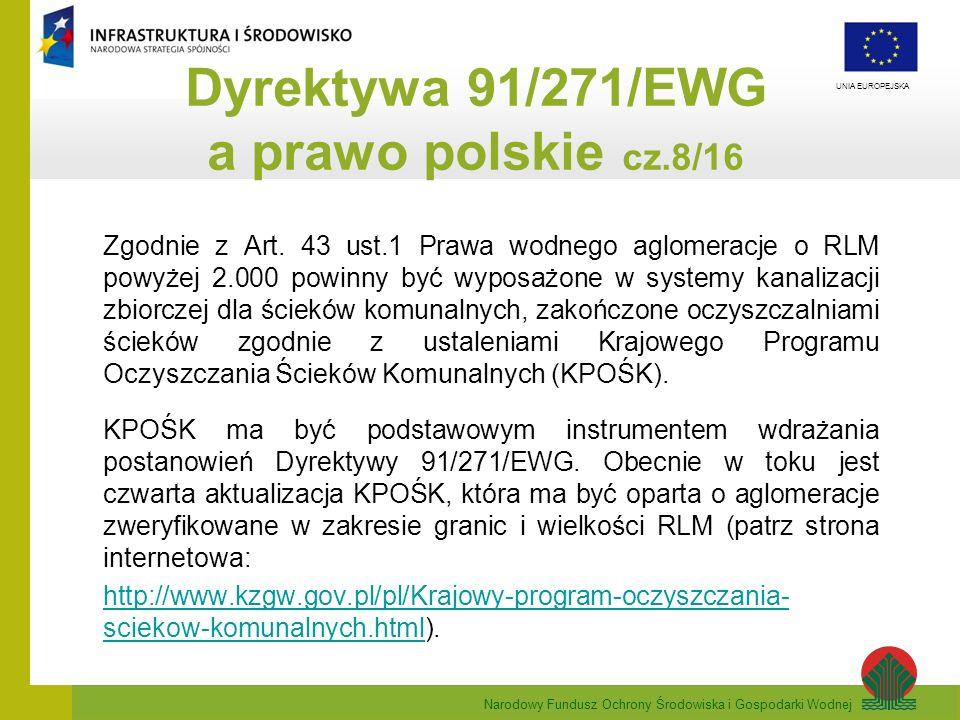 Narodowy Fundusz Ochrony Środowiska i Gospodarki Wodnej UNIA EUROPEJSKA Zgodnie z Art. 43 ust.1 Prawa wodnego aglomeracje o RLM powyżej 2.000 powinny