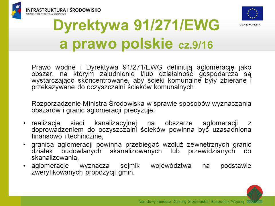Narodowy Fundusz Ochrony Środowiska i Gospodarki Wodnej UNIA EUROPEJSKA Prawo wodne i Dyrektywa 91/271/EWG definiują aglomerację jako obszar, na który