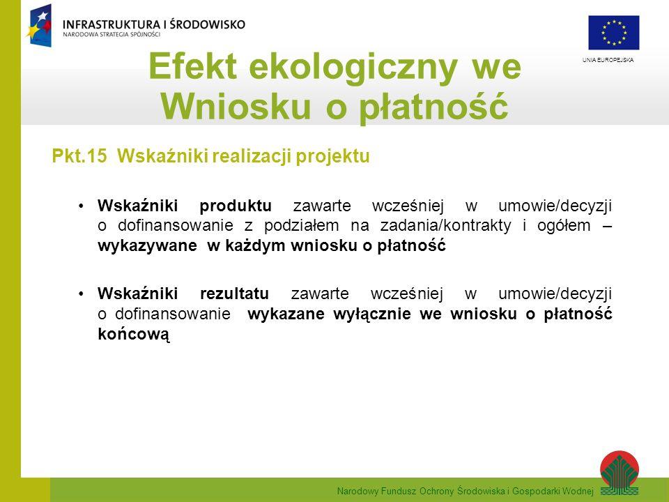 Narodowy Fundusz Ochrony Środowiska i Gospodarki Wodnej UNIA EUROPEJSKA Efekt ekologiczny we Wniosku o płatność Pkt.15 Wskaźniki realizacji projektu W