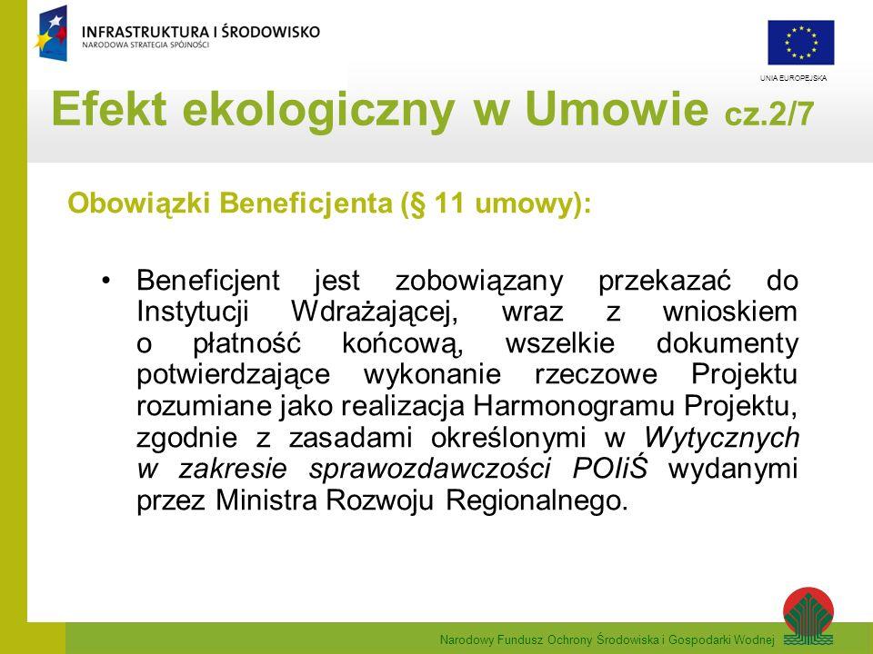 Narodowy Fundusz Ochrony Środowiska i Gospodarki Wodnej UNIA EUROPEJSKA Szczególne zapisy § 4 Umowy o dofinansowanie w ramach POIiŚ – cd 10.Nie jest dopuszczalna zmiana Umowy w zakresie warunków realizacji Projektu, w rezultacie której Projekt przestałby spełniać kryteria wyboru projektów, według których był oceniany(…).