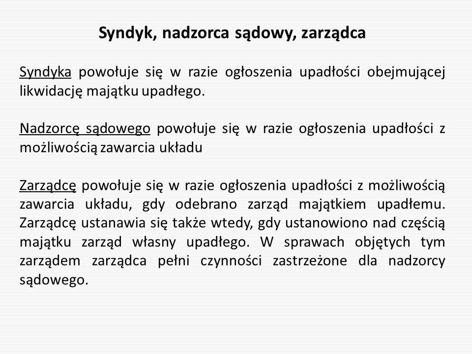 Syndyk, nadzorca sądowy, zarządca Syndyka powołuje się w razie ogłoszenia upadłości obejmującej likwidację majątku upadłego. Nadzorcę sądowego powołuj