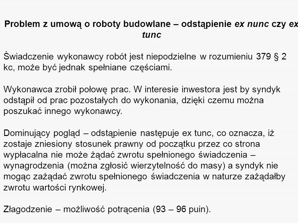 Problem z umową o roboty budowlane – odstąpienie ex nunc czy ex tunc Świadczenie wykonawcy robót jest niepodzielne w rozumieniu 379 § 2 kc, może być j