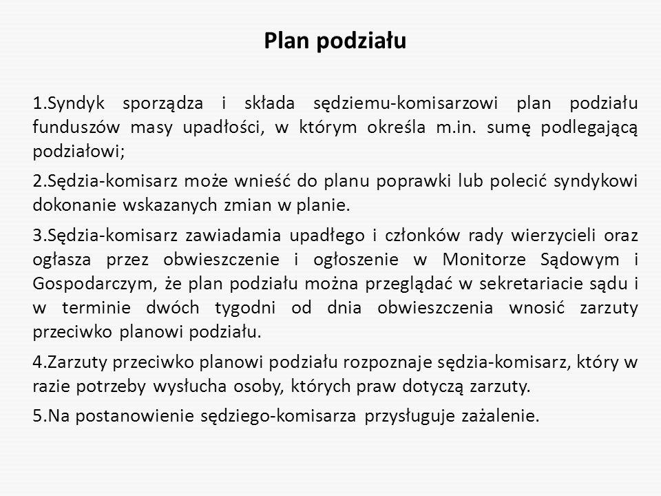 Plan podziału 1.Syndyk sporządza i składa sędziemu-komisarzowi plan podziału funduszów masy upadłości, w którym określa m.in. sumę podlegającą podział